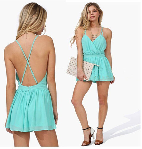 New 2015 Women Summer Dress Sexy Mini Dress Chiffon Spaghetti Strap Dress Backless Plus Size Blue Casual Bandage Beach Dress - Slim Wallet Company