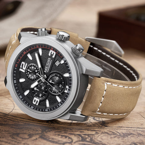 Luminous Chronograph  Auto Date Genuine Leather Watch - Slim Wallet Company
