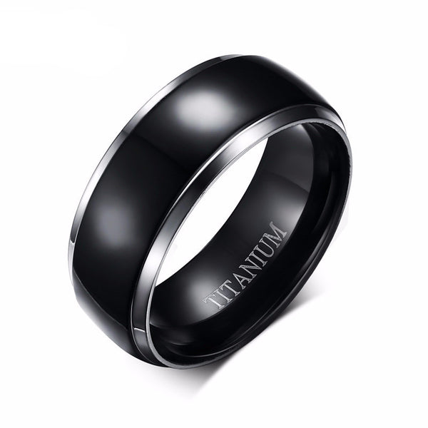 Sealth Cut Black Titanium Ring  Engagement Wedding