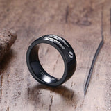 100% Black Titanium Steel Rope Anchor Ring - Slim Wallet Company