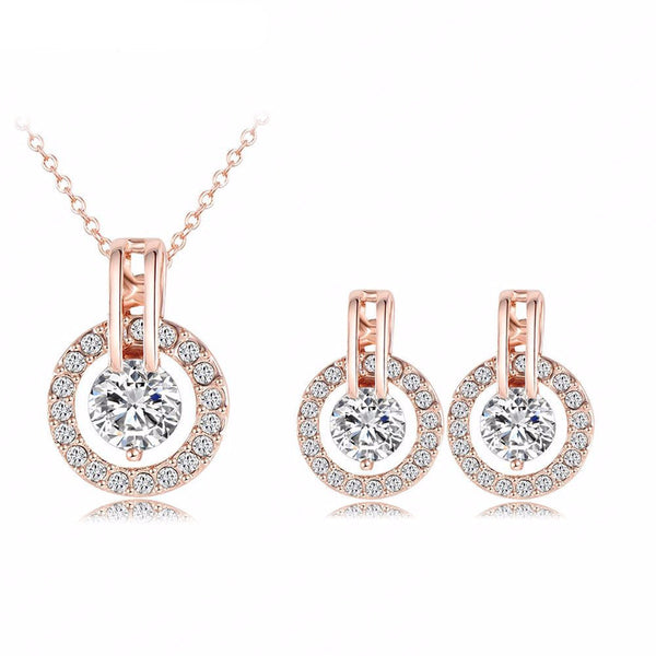 Wedding Jewelry Sets 18K Rose Gold Plated Necklace/Earring Bijouterie Sets - Slim Wallet Company