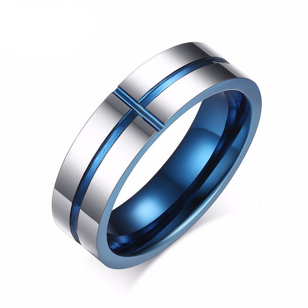 Deep Waters Blue Straight Edge Tungsten Carbide Ring - Slim Wallet Company