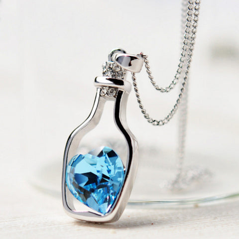 My heart in a Bottle - Crystal Necklace - Slim Wallet Company