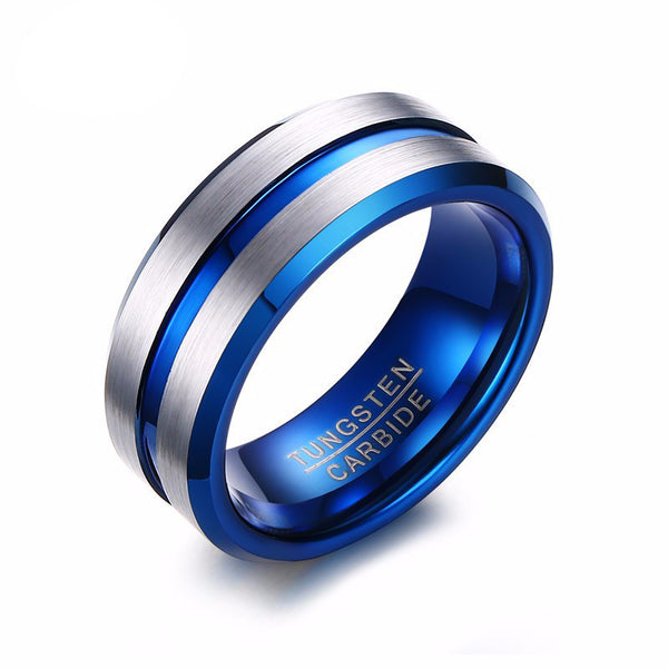 Electric Blue Bevel Cut Tungsten Carbide Ring - Slim Wallet Company