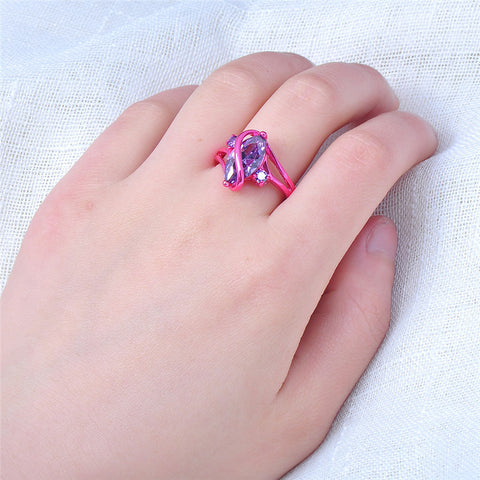 1st Pink Gold Purple Zircon Crystal Ring - Slim Wallet Company