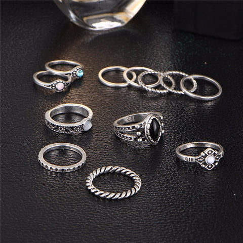 12pcs Vintage Midi Rings Set - Slim Wallet Company