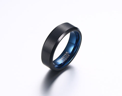 Blue Tungsten Carbide Ring for Men - Slim Wallet Company