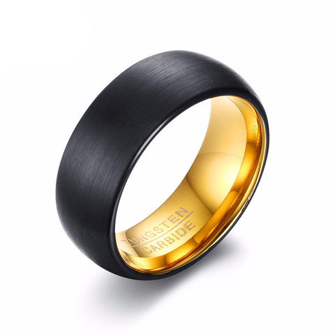 Black and Gold Brushed Tungsten Carbide Ring