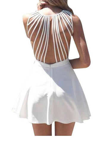 Pure V neck white strappy back sleeveless skater dress