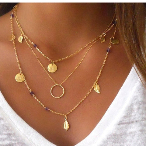 BOHO GOLD PLATED COIN LEAF CIRCLE PENDANT NECKLACE