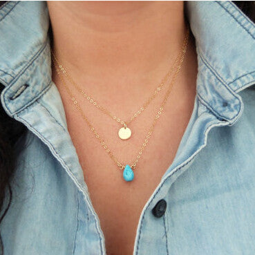 2015 New Fashion Simple Chain Water Drop Turquoise Gold Disc Coin Paillette Multi Layer Necklace For Women Fine Jewelry 8283 - Slim Wallet Company
