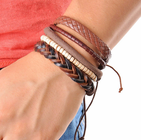 1Set (3-4PCs) Men Multi-layer Leather Bracelet
