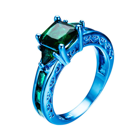 Blue Gold and Earthen Green Zircon Ring