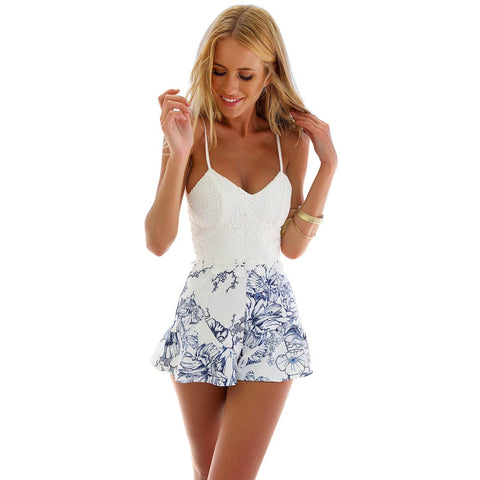 Lace Crochet  Floral Print Rompers - Slim Wallet Company