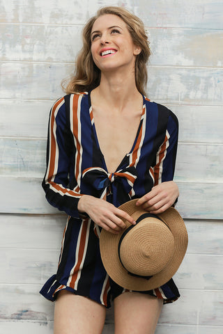Bow striped women jumpsuit romper Summer style long sleeve party overalls Fashion club playsuits leotard