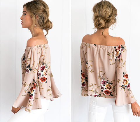 Off shoulder chiffon blouse shirt
