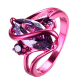 1st Pink Gold Purple Zircon Crystal Ring