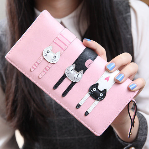 2016 New Fashion Envelope Women Wallet Cat Cartoon Wallet Long Creative Female Card Holder  PU wallet coin purses Girls - Slim Wallet Company