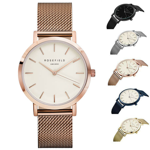 ROSEFIELD Watch Golden Genuine Leather