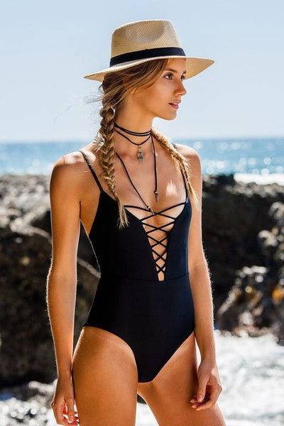One Piece Lace Up Monokini Swimsuit