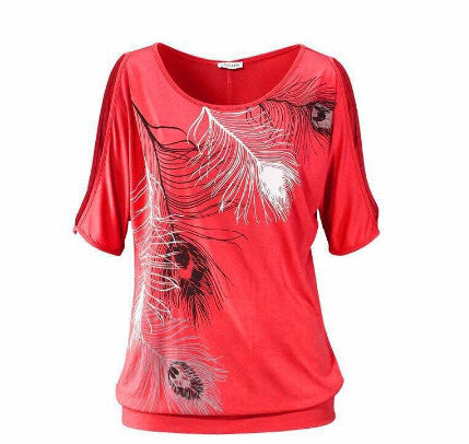 Loose fit Summer Feather Off Shoulder Tee - Slim Wallet Company