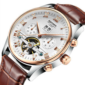 Rose Gold Leather Mechanical Wrist Watch - Slim Wallet Company