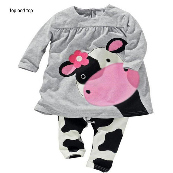 Hot sale spring autumn baby girl clothes casual long-sleeved T-shirt+Pants suit Tracksuit the cow suit of the girls - Slim Wallet Company