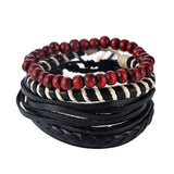 1Set (3-4PCs) Men Multi-layer Leather Bracelet - Slim Wallet Company