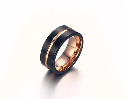 Tungsten Metal Black Gold Plated Ring