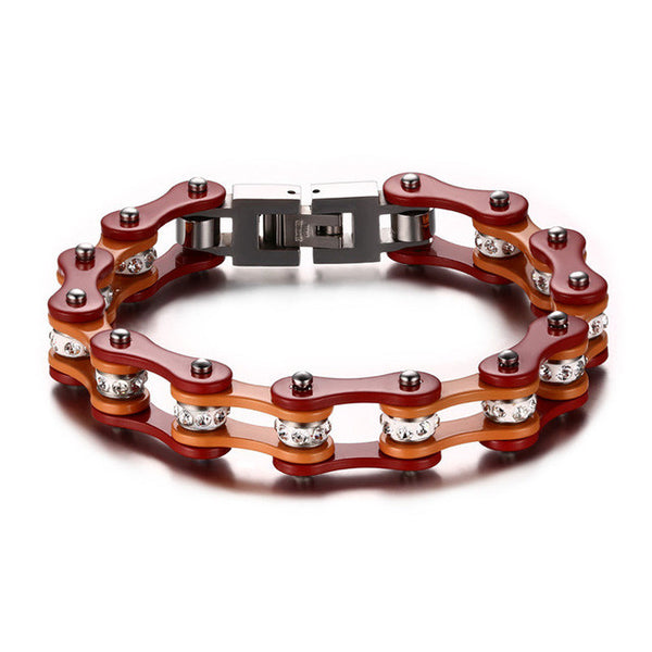 New Cool Mix Color Biker Chain Bracelet Stainless Steel Biker Chain Bracelet - Slim Wallet Company
