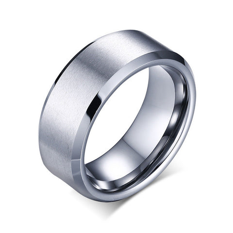 Brushed Clean Cut Tungsten Ring