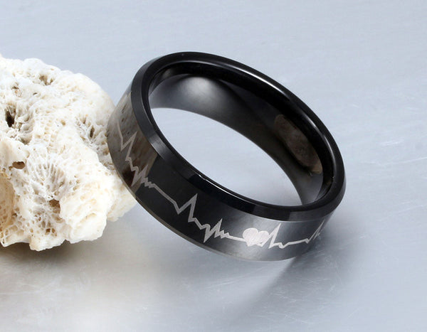 Pure Tungsten Carbide Wedding Ring Black Electrocardiogram