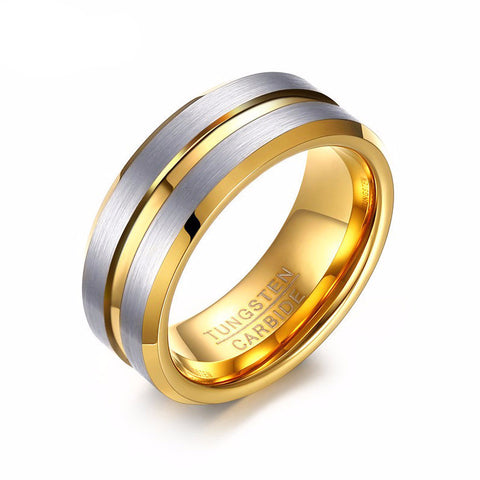 18K Gold Plated and Brushed Tungsten Ring