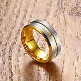 18K Gold Plated and Brushed Tungsten Ring - Slim Wallet Company