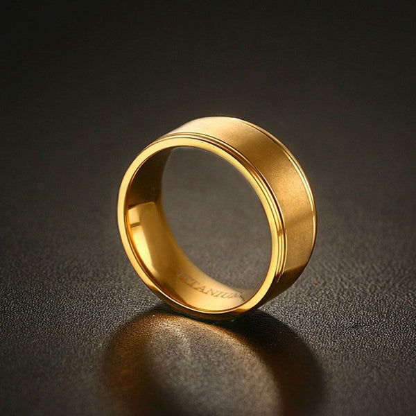 100% Titanium Gold Plated Matte Centered Ring  8MM Wedding Ring - Slim Wallet Company
