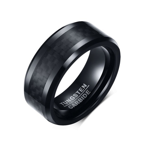 Black Tungsten Carbide and Carbon Fiber Bevel Edge Ring - Slim Wallet Company