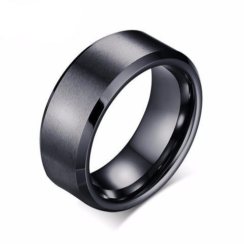 Classic Black Bevel Edge Tungsten Ring