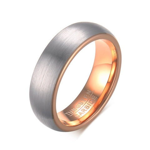 Rose Gold Plated Tungsten Carbide Dome Brushed Ring - Slim Wallet Company