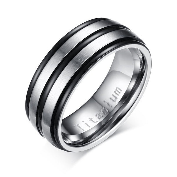 Black Titanium Carbide Men's Jewelry Wedding Bands Classic Ring - Slim Wallet Company