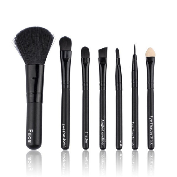 7 piece Solid Makeup Brush Set - Slim Wallet Company