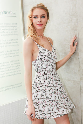 Floral print summer dress women Casual v neck strap beach dress - Slim Wallet Company