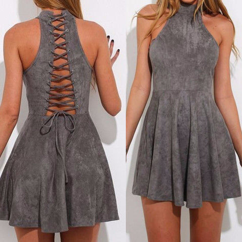 Backless Summer Sleeveless Fit Flare Dress Gray Halter