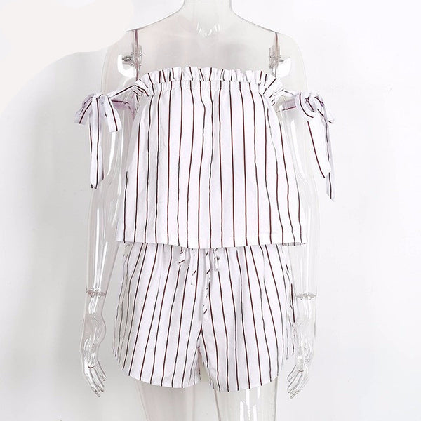 White bow stripe elegant jumpsuit romper Off shoulder two piece suit overalls Sexy summer beach playsuit women outfit