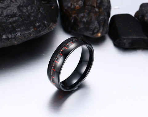 Tungsten Carbide Ring Black Carbon 8mm