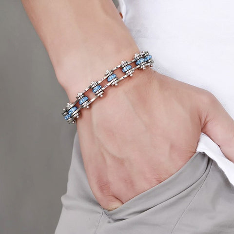 Blue Studded Stainless Steel Bracelet - Slim Wallet Company