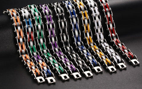 Biker Chain Bracelet For Men Stainless Steel Mix Color - Slim Wallet Company