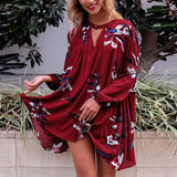 Boho loose fit dress Casual lantern sleeve floral short dress - Slim Wallet Company