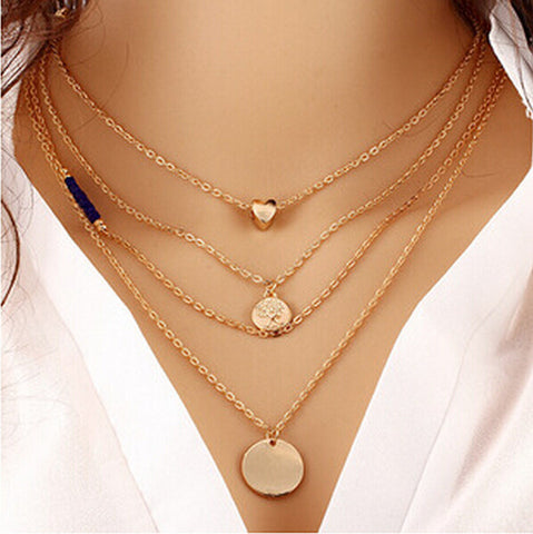 2016 Simple Fashion Jewelry Collares Gold Multi Layer Necklace Sexy Love Heart Gold Circular Sequin Bead Pendant Necklace W90 - Slim Wallet Company