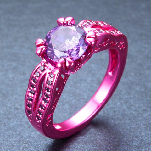 Pink Gold Purple Cubic Zirconia Ring