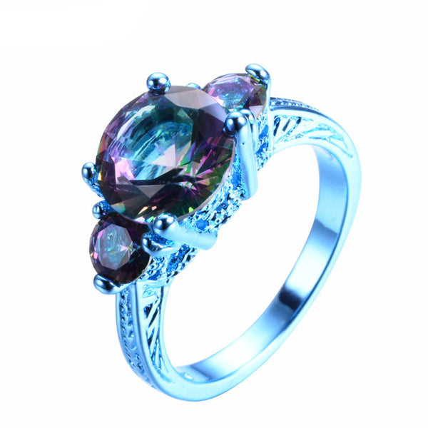 Blue Gold Round Mystic Rainbow Zircon Ring - Slim Wallet Company